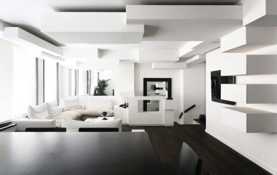 Monochrome Duplex Apartment With Complex Interior Geometry_image
