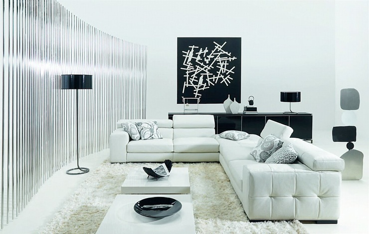 Ideas For Black and White Living Rooms_image
