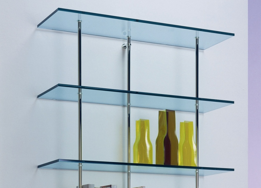 Tonelli trasparenza glass bookcase wall unit shelving units go modern furniture for Glass wall units for living room