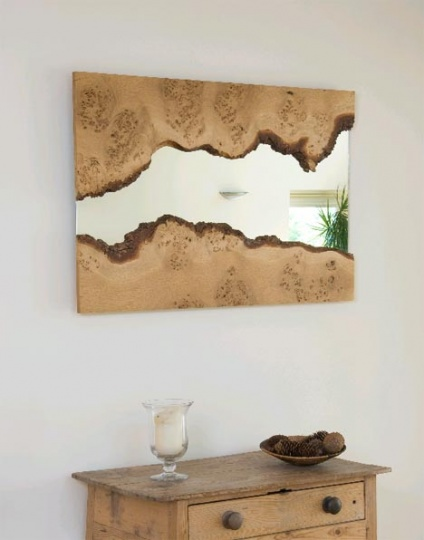 Rough Reflection: Natural-Edge Wood-Framed Wall Mirrors_image
