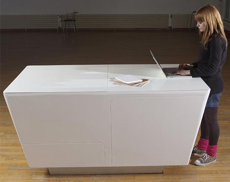 Fold-Out Furniture: Combined Kitchen Island & Work Table_image