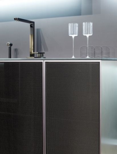 Modern and Mannish Kitchen With Carbon Doors_image