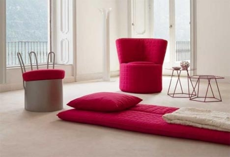 Comfy Chair Cushions Change into a Bedroll & Floor Pillow_image