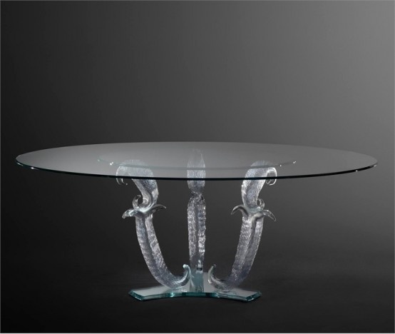 Unique Table Base: Glass Dining Tables With Unique Base