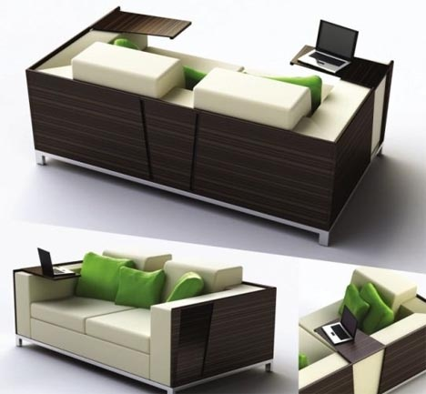Flip-Open Sofa Shelves: Combined Couch & Desk Design_image