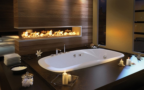 Luxury Master Bathroom Idea by Pearl: drop-in bathtub and built-in fireplace_image