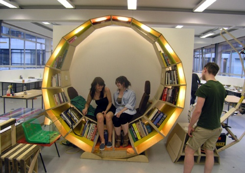 Circular Library with Comfortable Reading Chair_image