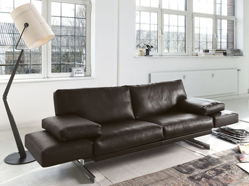 Leather Sofa with Adjustable Back Rests and Movable Footrests by Cor – Briol_image