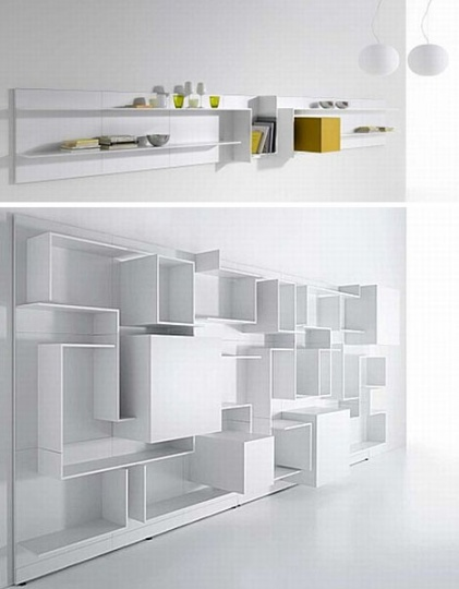 Floating White Wall Shelves Double as Abstract Home Decor_image