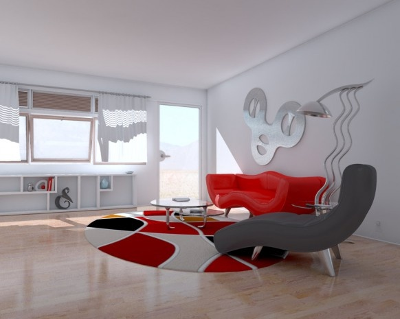 Red and White Living Rooms_image