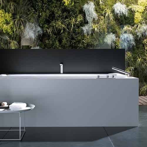 Relaxing Nature Bathroom Design in Black and White_image