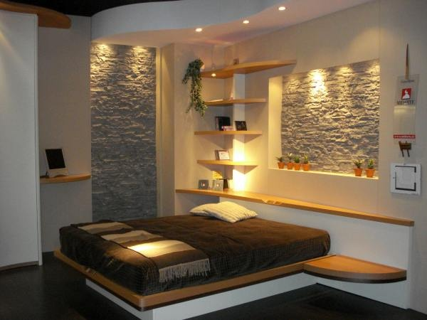 Beautiful Bedroom with Decorative Stone Elements_image