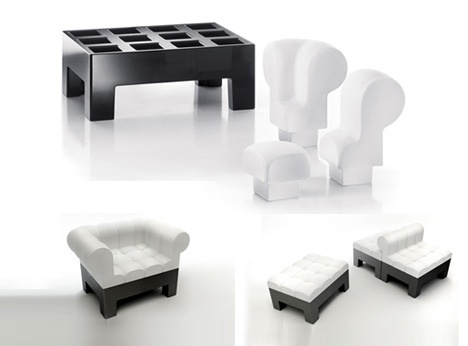 Fashionably Fun: Plush Black & White Puzzle-Piece Furniture_image