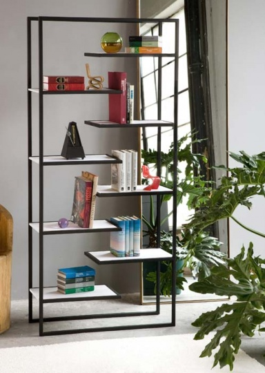 Minimalist Steel Bookcases with Corian or Bamboo Shelves by Faktura_image
