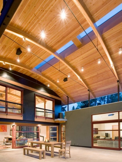 House Made Of Eclectic Materials with Arched Metal Roof_image