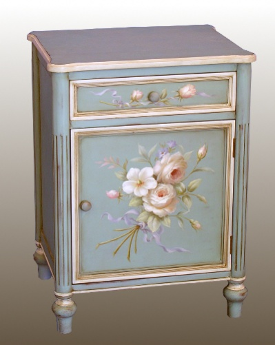 Blue Hand Painted Bedside Cabinet Cabinets