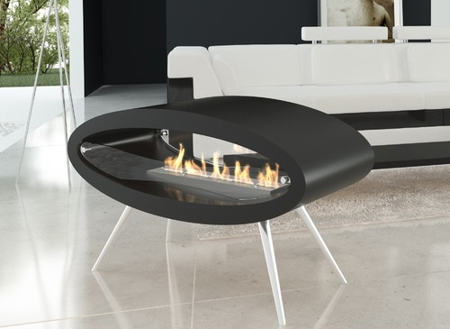 Modern Ellipse Fireplace Hangs From the Ceiling or Rests On the Floor_image