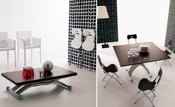 Dining Room Sets for Small Spaces: transformable table and chairs by Ozzio_image