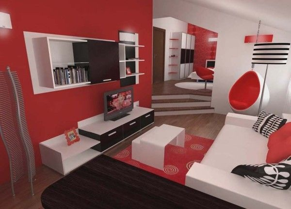 Inspiring Contemporary Bedroom in Red, Black and White_image