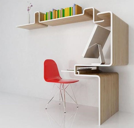 Space saving furniture home office desk storage idea - Space saving office furniture ...