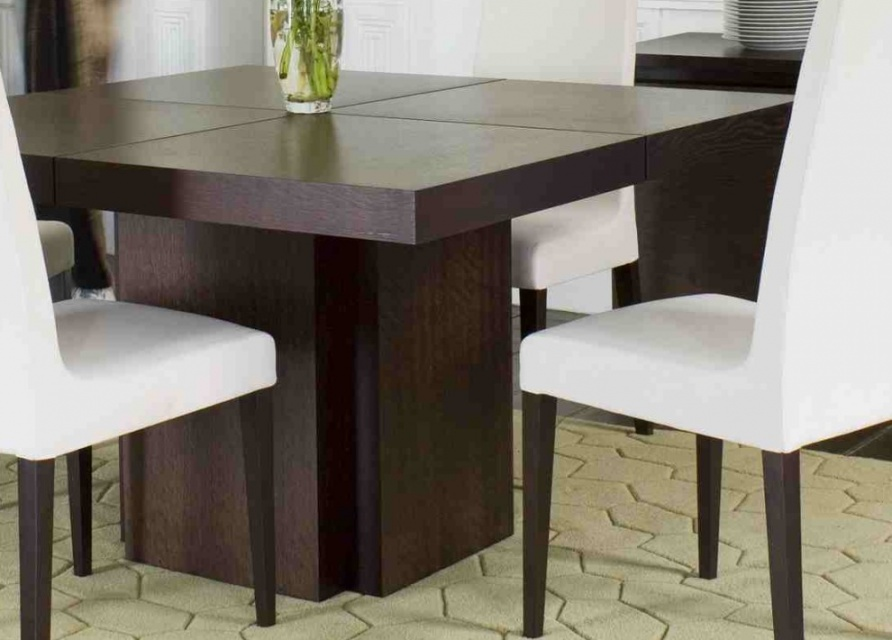Madeira square dining table dining tables go modern for Modern dining room table decor