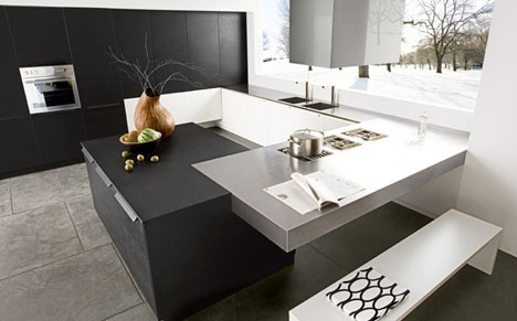 Modern Black & White Kitchen_image