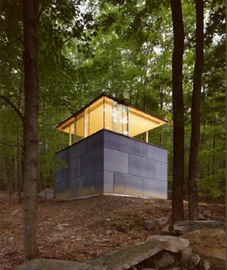 Zen-Like Cube Shaped Study Crib in the Catskill Mountains_image