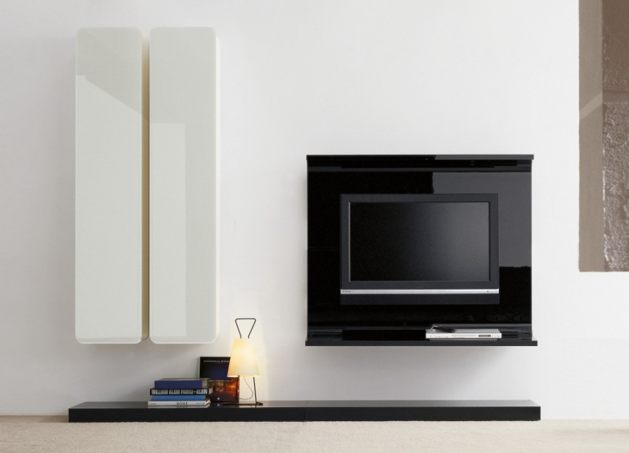 Glass wall unit with porta tv unit wall storage systems go modern furniture findmefurniture for Glass wall units for living room