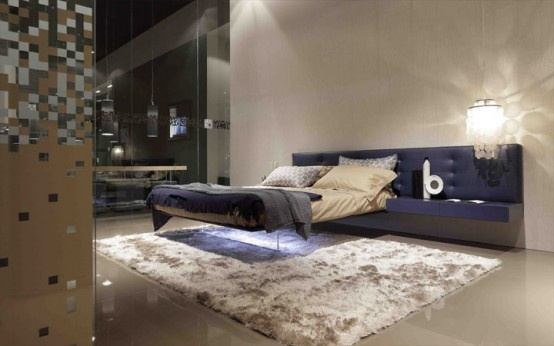 Futuristic Minimalist Bed Supported By Transparent Panel Wing Bed By Presotto