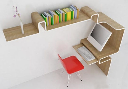 Space-Saving Furniture: Home Office Desk & Storage Idea_image