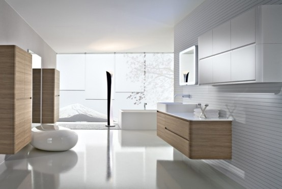 Georgeous Pure White and Wooden Bathroom _image