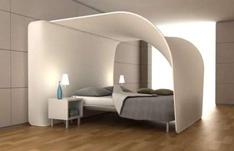 Double Feature: Curved Bed Canopy, Built-In Projection TV_image