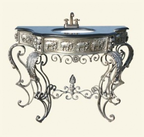 Large Silver French Sink Unit With Black Marble