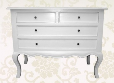 White Linen Low Four Drawer Chest