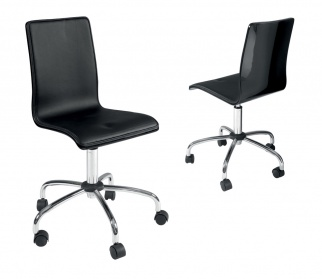 Straight gloss back office chair black