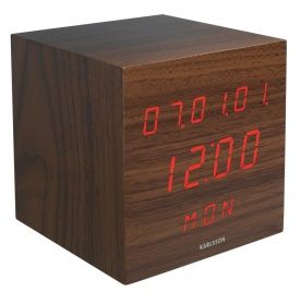 Walnut cube alarm clock