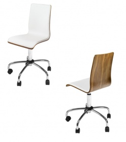 Straight walnut back office chair white