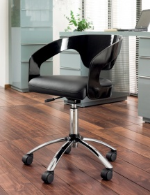 Curved padded office chair gloss black
