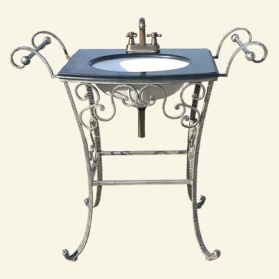 Silver Iron Vanity Unit With Black Marble Top