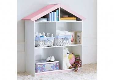 Pink and White Bookcase House