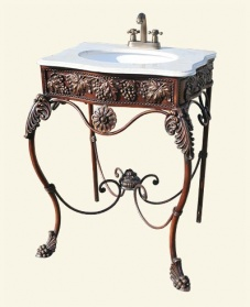 Bronze Iron Sink Unit With White Marble Top