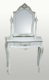 Antique White Dressing Table & Mirror_main_image