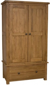 Barn Oak Wardrobe with Drawers