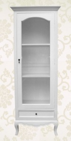 White Linen Glass Display Cabinet