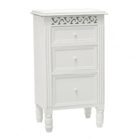 Bella White 3 Drawer Bedside Table