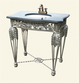 French Silver Metal With Black Marble Sink Unit