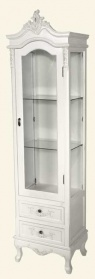 Antique White Glass Tall Cabinet