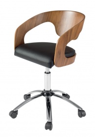 Curved padded office chair walnut