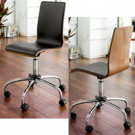 Straight walnut back office chair black
