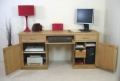Mobel Oak Large Hidden Office Twin Pedestal Desk_image1
